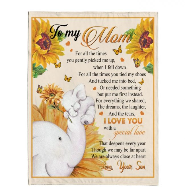 To My Mom Son Love You With Special Love Sunflower Elephant Mother's Day Gift Fleece Sherpa Mink Blanket