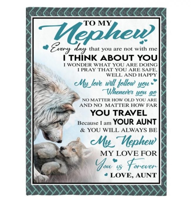 To My Nephew Aunt Love You Forever Wolf White Fleece Sherpa Mink Blanket