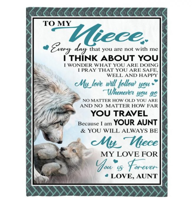 To My Niece Aunt Love You Forever Wolf White Fleece Sherpa Mink Blanket