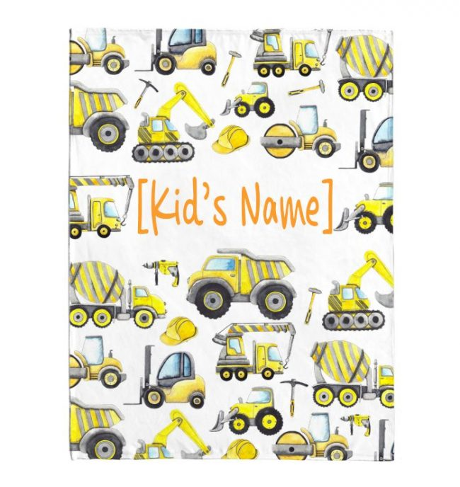 Personalized Kid Baby Contruction Truck Dump Baby Name Gift From Mom Dad Aunt Uncle Granpa Grandma Fleece Sherpa Mink Blanket