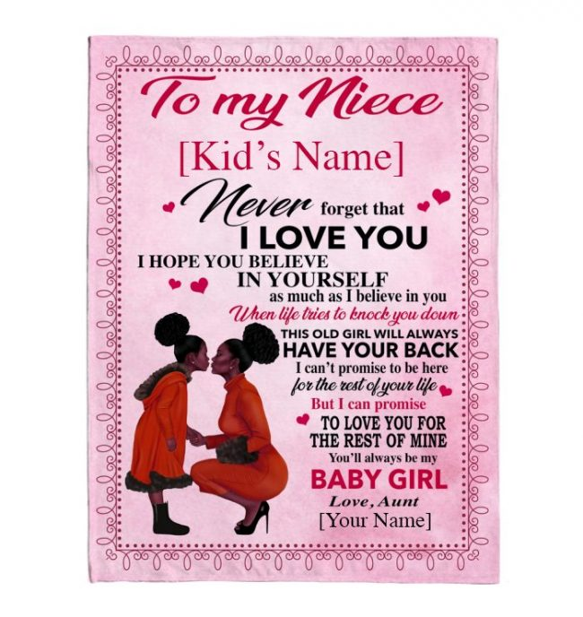 Personalized Customize To My Niece I Love You Believe In Yourself Black Girl Gift From Aunt Fleece Sherpa Mink Blanket