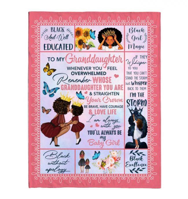 To My Granddaughter Black Girl Straighten Crown Brave Courage Love Life Whisper Storm Gift From Grandma Fleece Sherpa Mink Blanket
