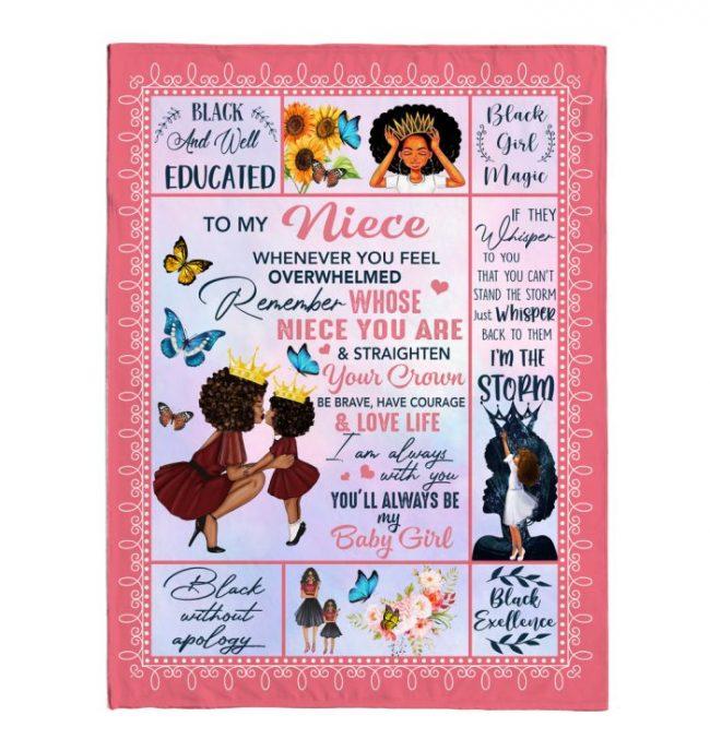 To My Niece Black Girl Straighten Crown Brave Courage Love Life Whisper Storm Gift From Aunt Fleece Sherpa Mink Blanket