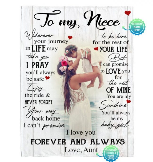 Personalized Custom To My Niece I Love You Forever Always Customize Photo Gift From Aunt Fleece Sherpa Mink Blanket