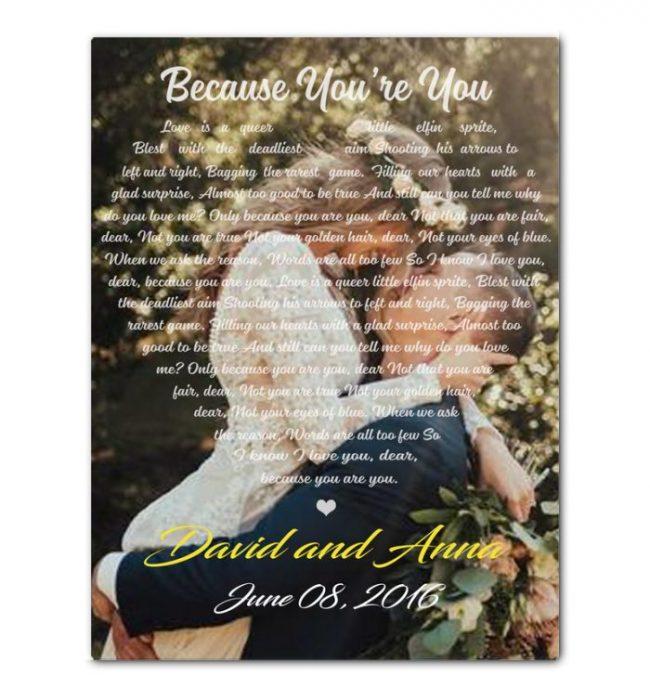 Personalized Canvas Gift For Husband Wife Couple Boyfriend Girlfriend Custom Photo Love Song Lyrics