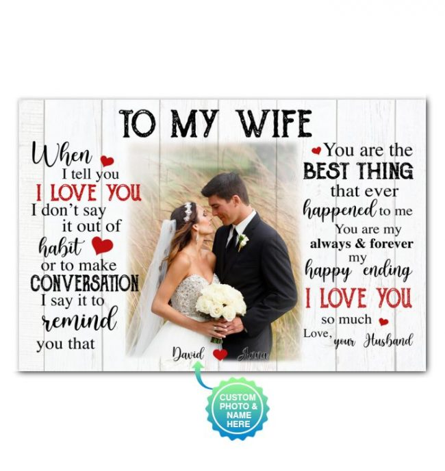 To My Wife Personalized Custom Name Photo Canvas Valentines Day Gifts Ideas For Wife Her