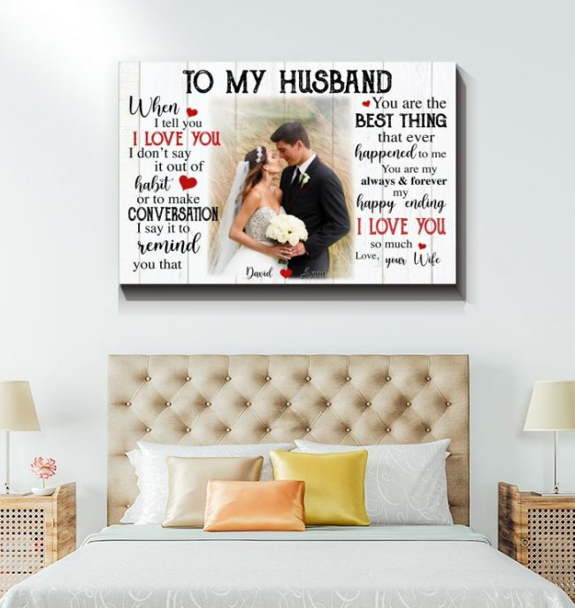 To My Husband Personalized Custom Name Photo Canvas Valentines Day Gifts Ideas For Husband Him 20212 Gift
