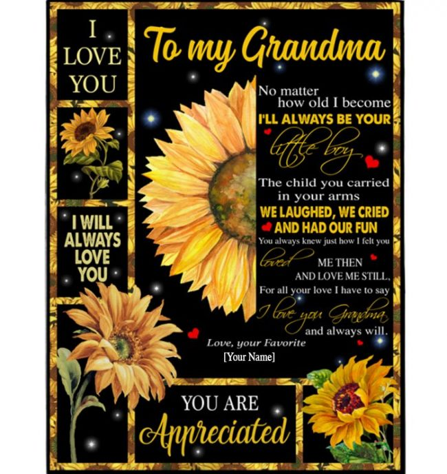 Grandma Gift From Grandson, I Love You Appreciated Grandma Sunflower Personalized Custom Mothers Day Gift Blanket