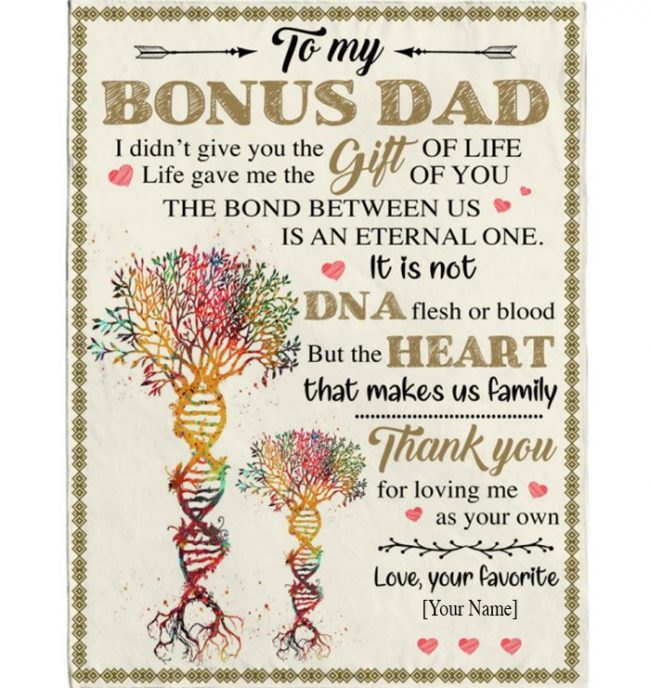 Personalized Custom Bonus Step Dad Not DNA Heart Make Us Family Thank you Fathers Day Gift From Son Daughter Blanket