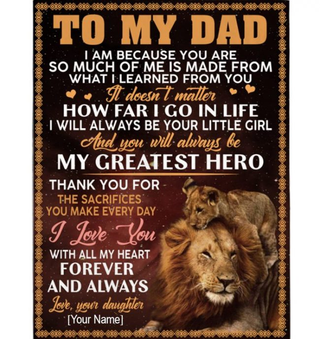 Personalized Custom Dad Fathers Day Gift I Love You Lion Gift From Daughter Blanket