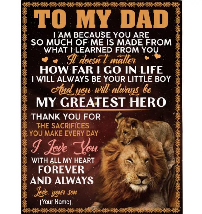 Personalized Custom Dad Fathers Day Gift I Love You Lion Gift From Son Blanket