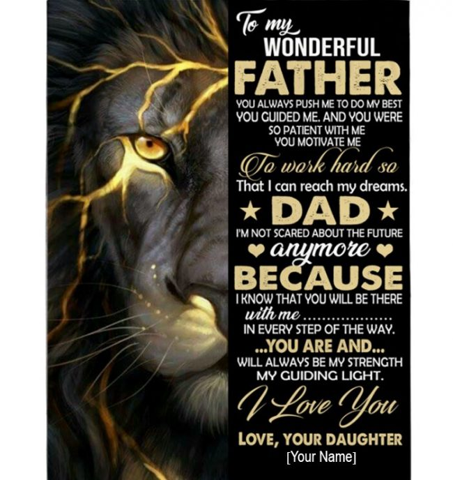 Personalized Custom Dad Lion Wonderful Father I Love You Fathers Day Gift From Daughter Blanket