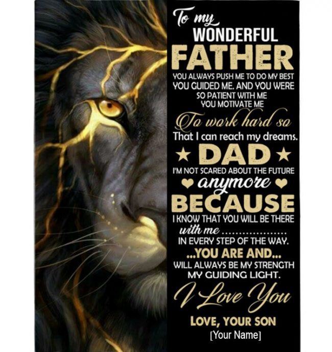 Personalized Custom Dad Lion Wonderful Father I Love You Fathers Day Gift From Son Blanket