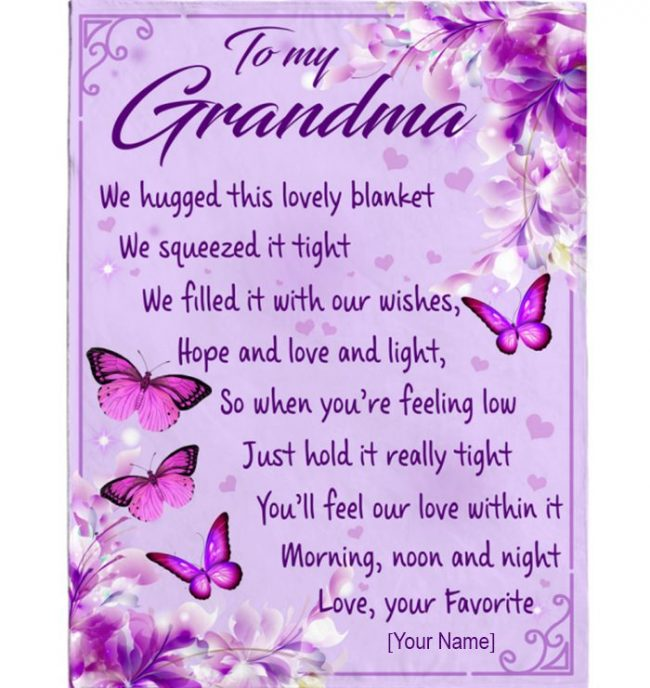 Personalized Custom Grandma Gift From Grandkids We Hugged Blanket For Grandma Mothers Day Gift Butterfly