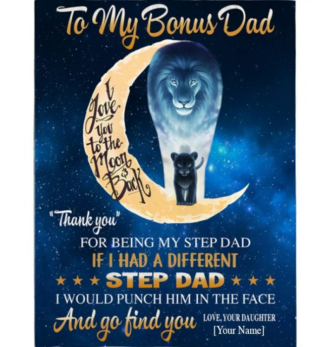 Personalized Custom Thank You Bonus Dad Step Dad Stepdad Fathers Day Gift From Daughter Lion Blanket