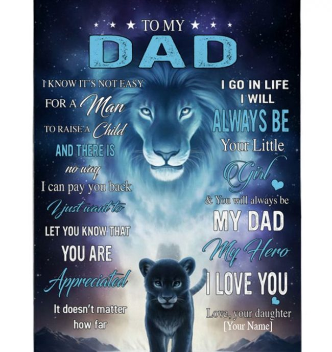 Personalized Custom To My Dad Hero Not Easy Man Raise Child Lion Fathers Day Gift From Daughter Blanket